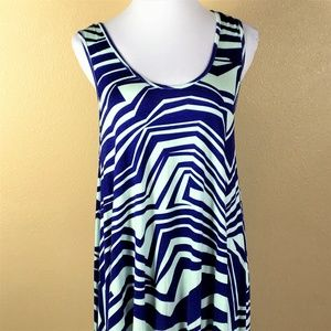 Anderson Dress SMALL Blue Geometric Sleeveless